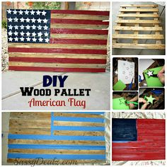 diy wood pallet american flag tutorial Instead of all red alternate with white Diy Wood Pallet, Pallet Flag, Diy Pallet Furniture, Pallet Art, Diy Pallet Projects, Wood Pallets, Wood Projects, Woodworking Projects, Craft Projects