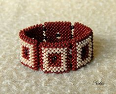 Beaded beige brown seed bead cuff bracelet