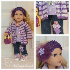Hand knit and sewn complete outfit for 18 inch doll - american girl