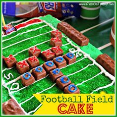 A Football Field Cake is the perfect way to celebrate football all season long! Football Field Cake, Football Tailgate, Football Birthday, Tailgate Food, Football Food, Football Parties, Football Season, Football Recipes, Football Stuff