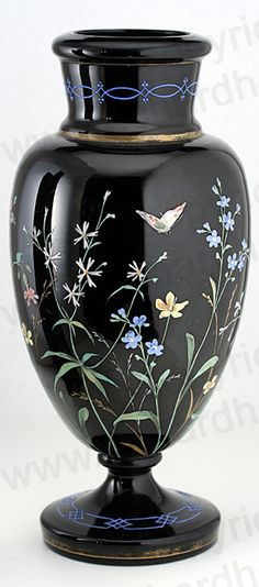 ANTIQUE c.1890 BLACK AMETHYST GLASS VASE WITH ENAMELLED FLORA & BUTTERFLIES, POSSIBLY HARRACH. Price: £275.00. For more information about this item click here: http://www.richardhoppe.co.uk/item.php?id=2693 or email us here: info@richardhoppe.co.uk