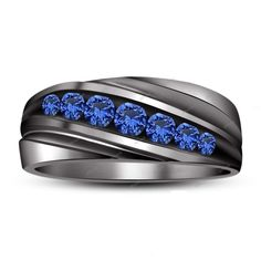 Mens 14k Black Gold Plated Channel Set Round Aquamarine Wedding Band Anniversary Ring 925 Sterling Silver