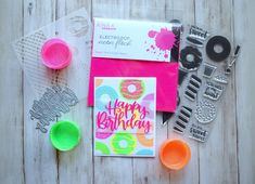 """Nothing says """"happy"""" quite like sprinkles, and nothing gets their attention quite like neon! Combine two fun elements in one unique card that screams """"Happy Birthday, Sweet Stuff!"""" Youll love the versatility of the Sweet Stuff Stamp n Stencil Collection. Summer Crafts For Kids, Summer Activities For Kids, Family Activities, Indoor Activities, Neon Crafts, Kid Crafts, Recycled Paper Crafts, Water Games For Kids, Backyard For Kids"""
