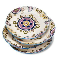 Set an inspired table with the Boho Boutique Rosana Dinner Plate - Set of 4. The medallion in the middle is complemented by the designs on the rim of these sturdy dinner plates. And they're deep enough to use as pasta bowls, too. The shiny glazed stoneware is easy-care dishwasher safe and microwave safe.