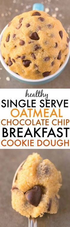 Healthy SINGLE SERVE Oatmeal Chocolate Chip BREAKFAST Cookie Dough- NO eggs flour white sugar butter or dairy and acceptable for breakfast! Quick easy and sinfully nutritious! Breakfast Cookies, Free Breakfast, Breakfast Recipes, Dessert Recipes, Vegan Breakfast, Paleo Dessert, Mug Cakes, Mug Recipes, Cooking Recipes
