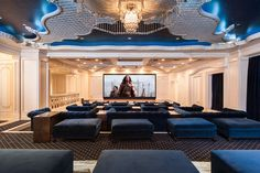 There's a screening room that seats 50, as well as a bowling alley and game room.