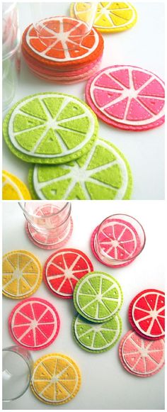 DIY Citrus Drink Coasters Tutorial | Purl Soho - The BEST Do it Yourself Gifts - Fun, Clever and Unique DIY Craft Projects and Ideas for Christmas, Birthdays, Thank You or Any Occasion