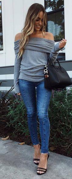 cute outfit off shoulder top bag skinny jeans heels