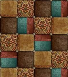 Western Fabric- Western Patchwork Cotton