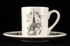 Wedgwood Souvenir Cup and Saucer Empire State Building, NY - Wedgwood