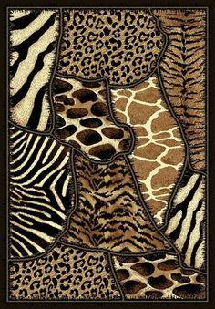 AFRICAN SAFARI ANIMAL SKINS PRINT AREA RUG