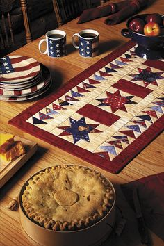 Welcome guests with coffee and apple pie, on a table warmed by Stars & Bars tablerunner - Patriotic Quilts