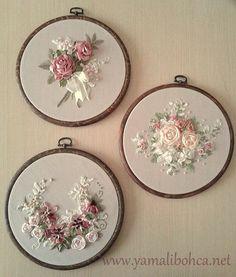 Wonderful Ribbon Embroidery Flowers by Hand Ideas. Enchanting Ribbon Embroidery Flowers by Hand Ideas. Ribbon Embroidery Tutorial, Hand Embroidery Stitches, Silk Ribbon Embroidery, Embroidery Hoop Art, Hand Embroidery Designs, Embroidery Ideas, Ribbon Art, Diy Ribbon, Ribbon Crafts