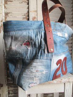 © Si un mas m'était conté - Sac cabas numéroté jean + cuir {SNC- 15}