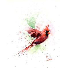 CARDINAL BIRD PAINTING red cardinal art, cardinal gift, cardinal... ($25) ❤ liked on Polyvore featuring home, home decor, wall art, animal paintings, bird home decor, watercolor painting, giclee painting and bird wall art