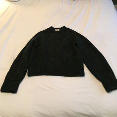 ACNE Studios emerald sweater 34% mohair, 34% wool, 27% nylon, 5% elastane. Shorter in length, but not crop. Wide sleeves. Multiple dark green with navy undertones. Acne Sweaters Crew & Scoop Necks