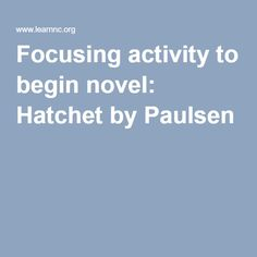 Focusing activity to begin novel: Hatchet by Paulsen