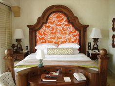 Mexican otomi headboard; Palmilla, Los Cabos, Mexico - for vintage Mexican items for your home, visit www.mainlymexican.com #Mexico #Mexican