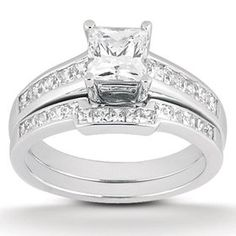 Princess Cut Channel Set Diamond Wedding Engagement Ring White Gold - This classic womens engagement ring and matching wedding band set features a princess cut center stone. All diamonds are channel set in solid white gold. Engagement Rings For Men, Diamond Engagement Rings, Wedding Engagement, Bridesmaid Jewelry Sets, Wedding Jewelry, Gold Jewelry, Jewellery, Diamond Wedding Rings, Diamond Rings