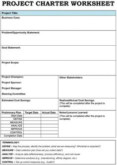 Project Charter  Project Charter And Template