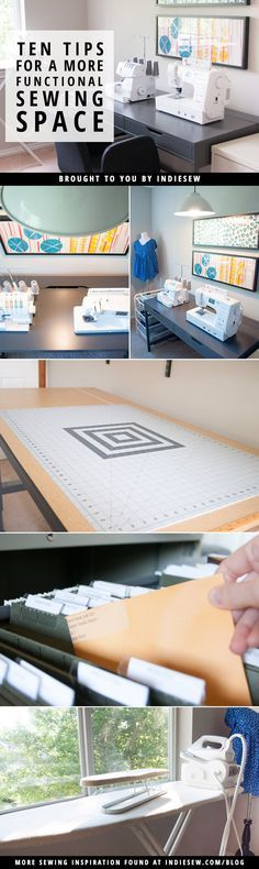 Spruce up your creative space with these ten tips for a more functional sewing room!   http://Indiesew.com