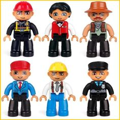 6pcs/set Big Size action figures In Blocks Compatible DUPLOS Family Worker Police Bricks Figure Toys For Kids Christmas Gift
