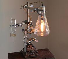 Industrial desk lamp steampunk flower vase lighting antique lab chemistry and laboratory science biology reclaimed Edison bulb cool studio