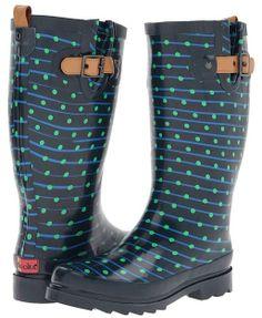 Chooka Striped Dot Rain Boot (Blue) - Footwear on shopstyle.com