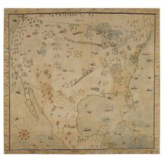 1stdibs - Large Naive Map of America in Crayon or Pastel on Muslin explore items from 1,700  global dealers at 1stdibs.com