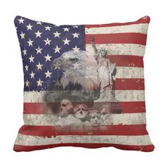 Flag and Symbols of United States ID155 Throw Pillow - independence day 4th of july holiday usa patriot fourth of july