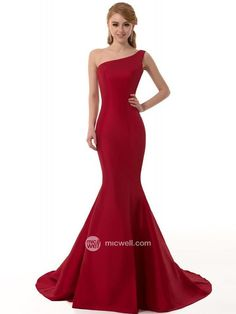 Trumpet / Mermaid One Shoulder Sleeveless Floor-length Satin Prom Dresses / Evening Dresses (SZ0319918) - MicWell.com