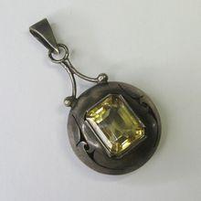 *SOLD* Laura's lifeintheknife on Ruby Lane: Vintage Polish Sterling Silver Citrine Necklace Pendant