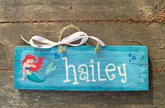 ARIEL Reclaimed  Hand Painted Sign Girls the LITTLE MERMAID Disney Princess Nursery Kids Room Bedroom Wall Decor Under the Sea Princesses