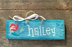 ARIEL Reclaimed  Hand Painted Sign Girls the LITTLE MERMAID Disney Princess Nursery Kids Room Bedroom Wall Decor Under the Sea Princesses