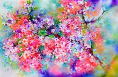 Sakura - Colorful Blossom by Soos Roxana Gabriela Pink Painting, Painting Edges, Acrylic Painting Canvas, Spray Paint On Canvas, Acrylic Spray, Price Artwork, Mixed Media Artwork, Acrylic Colors, Landscape Paintings