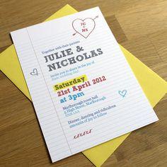 SCHOOL NOTEBOOK  wedding invitation  SAMPLE ONLY £2.20