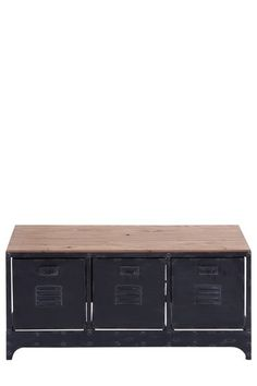 "About This Item:  For that rustic style, incorporate this storage bench to the rest of your interior decor.  - 3 pull-out drawers  - Smooth wood surface  - Distressed metal frame  - Approx. 39"" W x 19"" H x 16"" D  - Imported    www.hautelook.com"