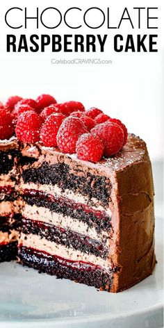 Amazingly rich, tender and moist Dark Chocolate Raspberry Cake with layers of luscious raspberry jam and silky chocolate mascarpone all enveloped in rich dark chocolate ganache! The best Chocolate Cake you will ever have! via @carlsbadcraving