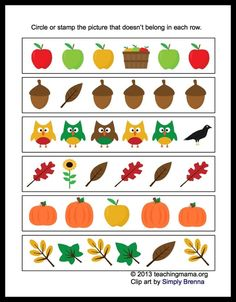 Free Fall Math Packet for Preschoolers. We did this right on the computer - What's different/doesn't belong. Then there is another page we did biggest/smallest item in the box. Fall Preschool, Preschool Education, Preschool Learning, Learning Resources, Teaching Tools, Kindergarten Math Worksheets, Free Printable Worksheets, Autumn Activities, Number Sequence