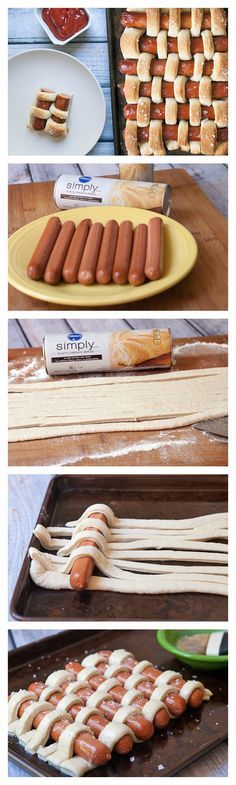 A fun and easy weave of crusty French bread strips around hot dogs!