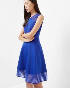 Mesh detail skater dress - Bright Blue | Dresses | Ted Baker FR