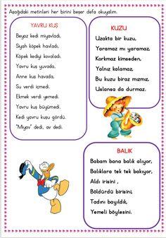 Okumaya yeni geçen öğrenciler için minik metinler  Çiğdem öğretmen Primary School, Pre School, Learn Turkish, Preschool Activities, Slogan, Karma, Texts, Classroom, Education