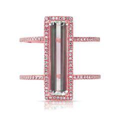 Anne Sisteron | Pink 14kt Rose Gold Aquamarine Diamond Beam Ring | Lyst