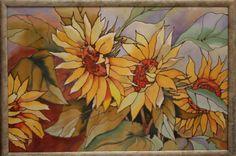 Купить Панно батик Подсолнухи - желтый, подсолнухи, подсолнух, солнце, солнечное настроение, листья