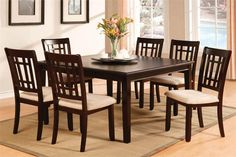 "squre diing room tables | 54"" Square Central Park II Dark Cherry Dining Table Set ..."