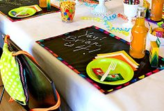 Chalkcloth placemats...so cute.  Would be great just for a craft mat...could write craft instructions on it and then use that to craft on too...or for special wishes each day!