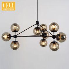 Beanstalk Chandelier DNA Molecules Restaurant Light Nordic Iron Glass Lamp Shade LED E27 Lamp Base Chandelier