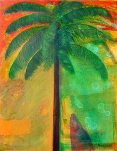 Sunset Palm Tree Original 22x28 Pop Art Impressionism Abstract Home Decor Beach House Island Tropical Caribbean Florida