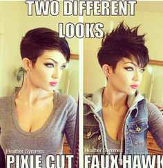 Pixie faux hawk--maybe use the pixie cut to my advantage for Halloween? Popular Short Hairstyles, Popular Haircuts, Pixie Hairstyles, Summer Hairstyles, Cool Hairstyles, Wedding Hairstyles, Wedge Hairstyles, Asymmetrical Hairstyles, Punk Pixie Haircut