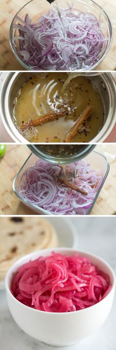 How to make Quick Pickled Onions at home. These are just perfect for topping tacos, sandwiches and anything else you think would love a pop of flavor and color. They even keep for a couple weeks in the fridge! | From inspiredtaste.net - @inspiredtaste